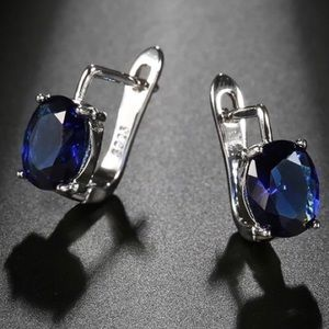 ¥ **New Oval Dark Blue Natural Zircon Earrings